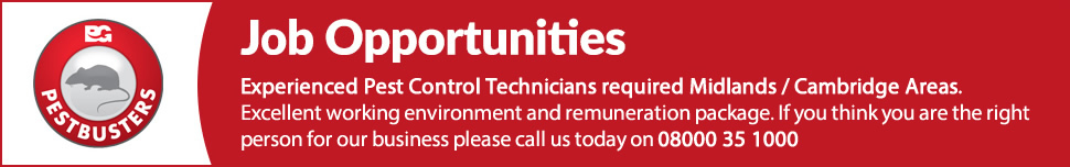 Experienced Pest Control Technicians Required Midlands Areas. Excellent working environment and renumeration package. If you think you are the right the person for our business please call us today on 08000 35 1000